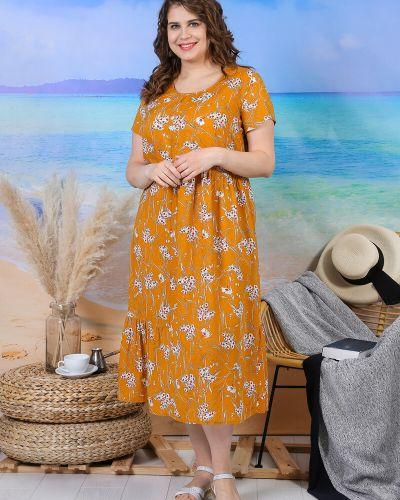 Повседневное платье свободного кроя из вискозы с рисунком виотекс