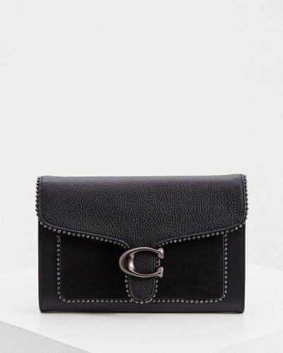 Кожаная черная сумка через плечо Coach