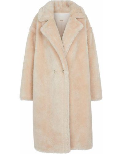 Бежевое шерстяное пальто Yves Salomon