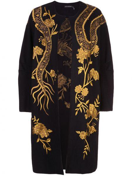 Шерстяное черное длинное пальто с капюшоном Josie Natori