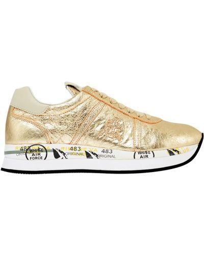 Кожаные кроссовки с логотипом с нашивками Premiata