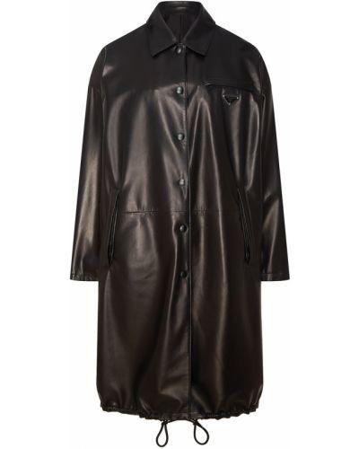 Кожаная куртка удлиненная - черная Prada