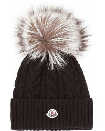 Вязаная шапка черная с отворотом Moncler