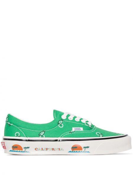 Brezentowy zielony sneakersy z łatami na sznurowadłach Vans