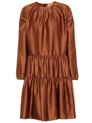 Brązowa satynowa sukienka wieczorowa N°21