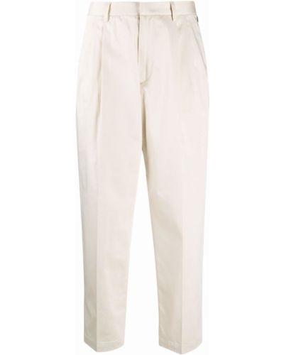 Хлопковые прямые бежевые укороченные брюки Woolrich