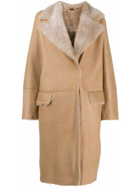 Коричневое кожаное длинное пальто с карманами Manzoni 24