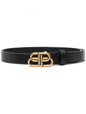 Золотистый кожаный черный тонкий ремень узкого кроя Balenciaga