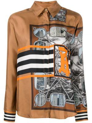Brązowa koszula w paski z długimi rękawami Burberry