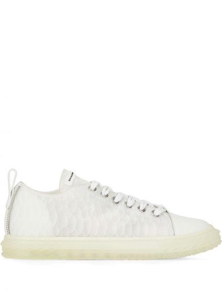 Biały ażurowy włókienniczy sneakersy z łatami Giuseppe Zanotti