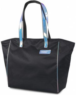 Мягкая черная сумка шоппер с камнями на молнии Puma