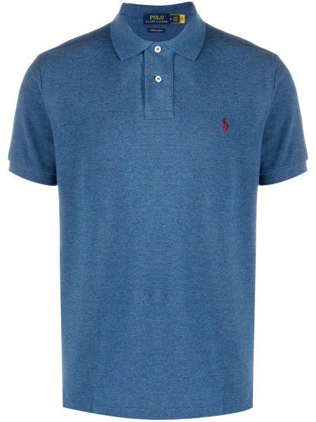 Prosto niebieski koszula z krótkim rękawem z kołnierzem z haftem Polo Ralph Lauren