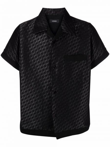 Czarna koszula bawełniana krótki rękaw 3.paradis