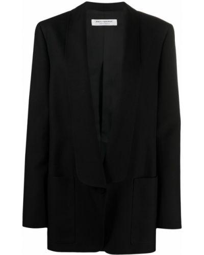 Черное длинное пальто на пуговицах с лацканами Philosophy Di Lorenzo Serafini