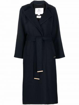Шерстяное пальто - синее Woolrich