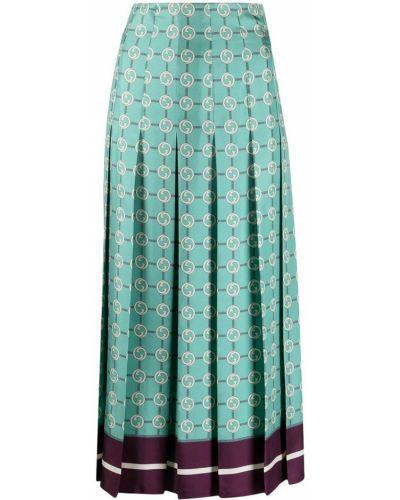 С завышенной талией синяя плиссированная юбка миди Gucci