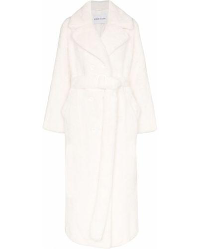 Белое акриловое пальто с поясом Stand