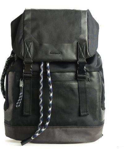 Czarny plecak z klamrą Diesel