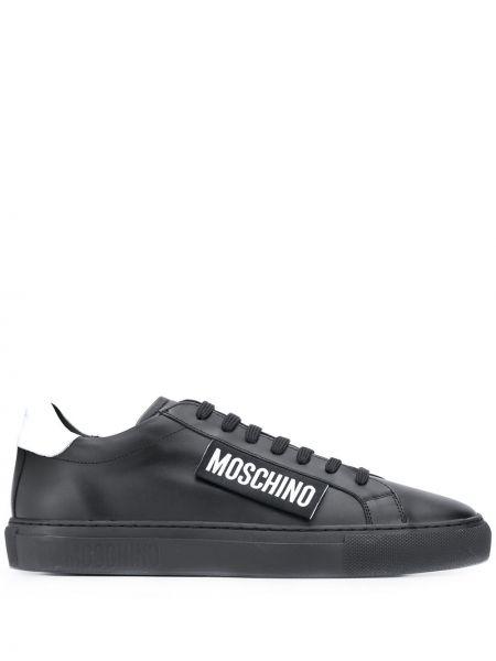 Skórzany sneakersy z logo Moschino