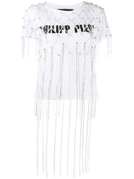 Хлопковая белая прямая футболка с круглым вырезом Philipp Plein
