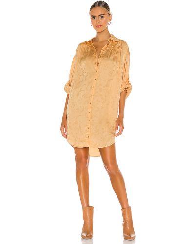 Pomarańczowa sukienka długa skórzana do pracy Spell & The Gypsy Collective