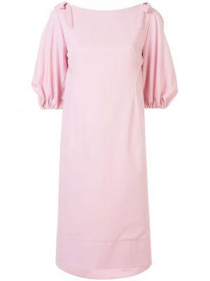 Шерстяное платье миди - розовое Delpozo