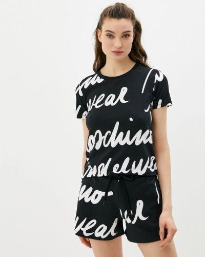 Черная футболка с короткими рукавами Moschino Underwear