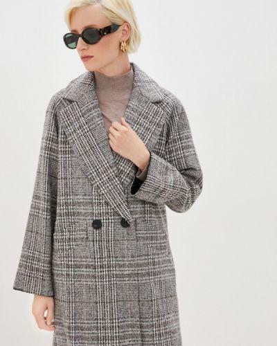Серое пальто двубортное Zarina