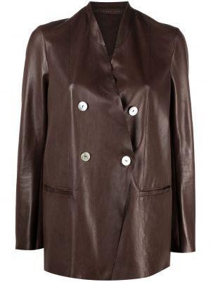 Кожаный коричневый пиджак двубортный Salvatore Santoro