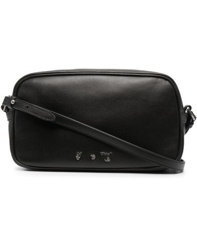 Черная кожаная сумка на плечо на молнии Off-white