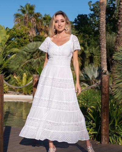 Пляжное кружевное белое платье мини Fresh Cotton