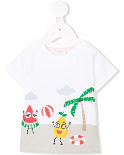 Biały t-shirt bawełniany krótki rękaw Fendi Kids