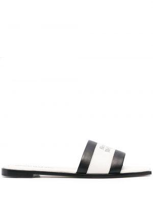 Czarne sandały skorzane na niskim obcasie Alexander Mcqueen