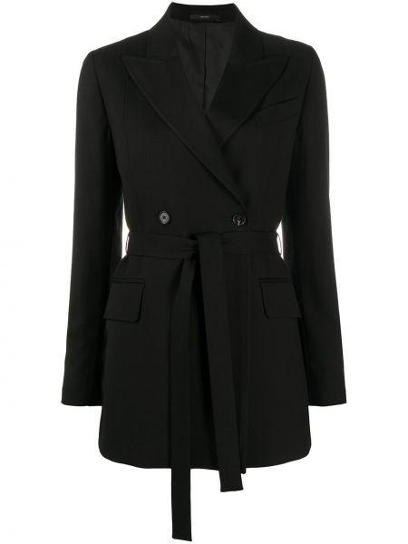 Шерстяное черное длинное пальто двубортное Paul Smith