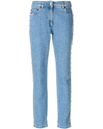 Прямые джинсы классические с заклепками Moschino