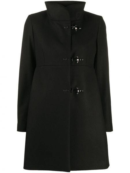 С рукавами черное шерстяное длинное пальто Fay
