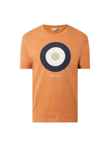 Pomarańczowy t-shirt bawełniany z printem Ben Sherman