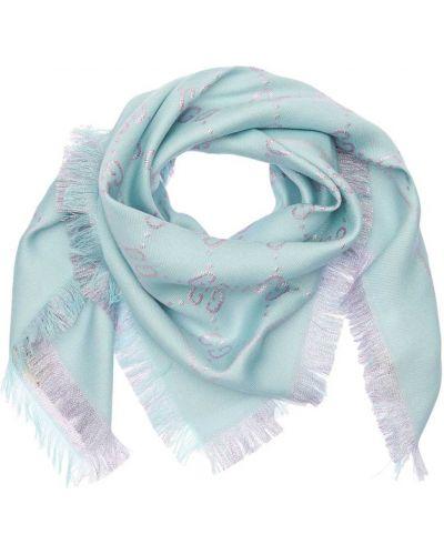Światło niebieski bawełna szalik żakard Gucci