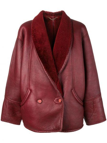 Красный кожаный удлиненный пиджак оверсайз A.n.g.e.l.o. Vintage Cult