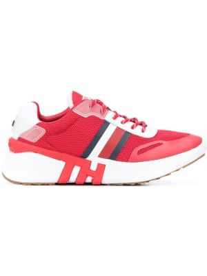 Красные ажурные кожаные кроссовки на шнурках из натуральной кожи Tommy Hilfiger