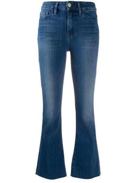 Хлопковые синие укороченные джинсы с потайной застежкой Frame