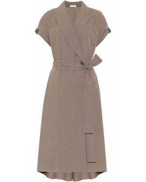 Платье миди с запахом из поплина Brunello Cucinelli