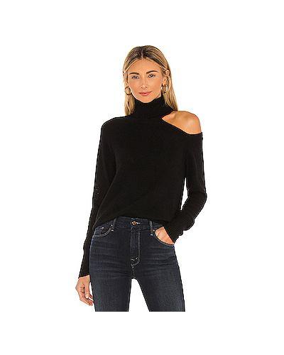 Кашемировый черный свитер с вырезом Skin