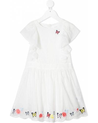 Biała sukienka z haftem bawełniana Charabia