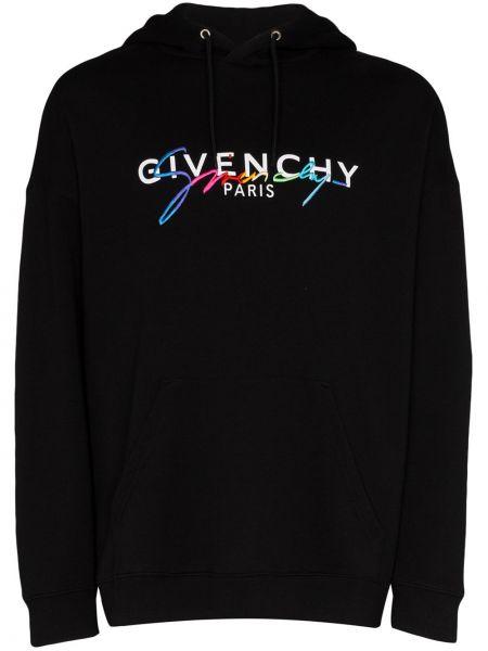 Bluza z kapturem z haftem czarna Givenchy