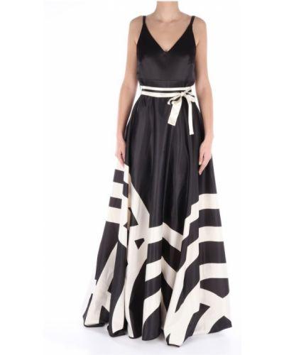 Klasyczna czarna sukienka długa w paski Lanacaprina