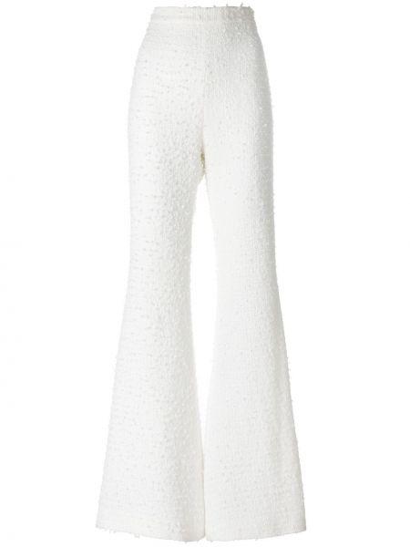 Белые шерстяные расклешенные брюки на молнии Balmain