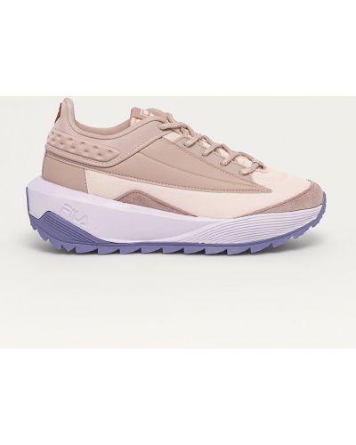 Różowe sneakersy na platformie sznurowane Fila