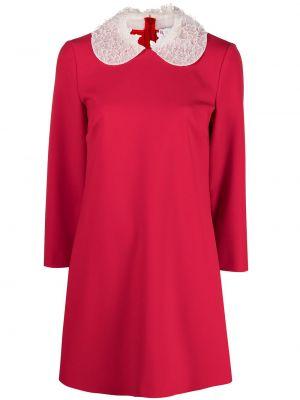 С рукавами красное платье мини трапеция Red Valentino
