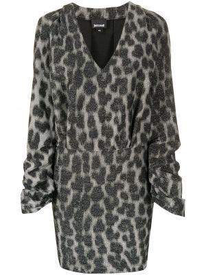 Платье с поясом с V-образным вырезом с рукавами Just Cavalli